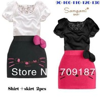 Free shipping ! 2013 new clothing baby hellokitty short-sleeved suit lace blouse + the butterfly disc knot skirt