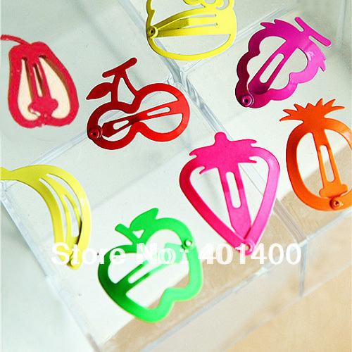 Fashion Cute Lovely Fruit Snap Clip Painted Hair Clip Hairgrips Girls Hair Accessory Free Shipping Many Countries(China (Mainland))
