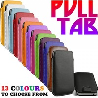 free shipping  50pcs/lot 13 colors  colorful pu leather bag ,PULL TAB LEATHER POUCH case for  IPHONE 5