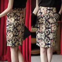 New 2014 Spring Summer Plus Size S-XL Vintage Floral Print High Waist Elegant Career Skirt For Women Lady 1461