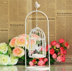 Wholesale Zakka Decorative Metal Bird Cages Candelabras Resin Bird Wrought Iron Candle Holders For Wedding Home Decoration A001(China (Mainland))