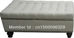!00% New Quality Large Storage Ottoman--Fabric in White(China (Mainland))