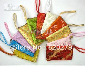 Women Phone Wrist Purse Zipper Silk Fabric Cell Phone Pouches Cases 10pcs/lot mix color Free