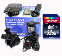 Free Shipping!!2013 Newest DVR207 HD720P IR Car Vehicle Dash Camera DVR Rotable 270 degrees Monitor&32GB SD Card