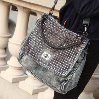 2013 women's handbag vintage one shoulder handbag punk rose gold rivet denim big cross-body bags Free shipping