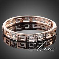 AZORA Brand Design 18K Rose Gold Plated G Style Rhinestones Paved Bangle Bracelet TB0015