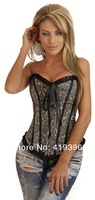 Hot selling CL4058 Free Shipping Black Lace Trim Floral Printed Sexy Satin Waist Cincher Corset