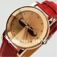 New Arrive Lady Fashion Mustache Watch 4 Colors Leather Band Quartz Wristwatches Women Dress Watch Analogue Analog Indications
