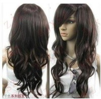 Free Shipping The factory wholesale price! Popula Vogue brown curl women's wig like real hair