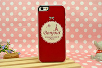 209 French Bonjour Eiffel Tower red hard skin case cover for iPhone 5 lady's new
