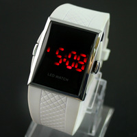 Free & Drop Shipping!  White Womens Ladies Girls Man Mens Sport Digital Rectangle LED Display Wrist Watches