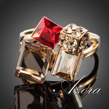 Азора эксклюзивный 18 К настоящее позолоченные многоцветный Stellux австрийский хрусталь кольцо TR0091