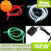 Free Shipping 96 LED Waterproof Flexible Light Strip Aquarium CAR Greet Wall  96m Light Lamp Strip 3Colors + DC12V Adapter