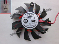 Free Shipping For T&T 6010M12F Graphics card Fan DC 12V 0.20A 55x55x10mm 2wire 2pin