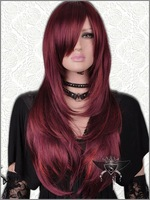 Wine Red Long Curly Charms Lolita Fashion Wig wigs