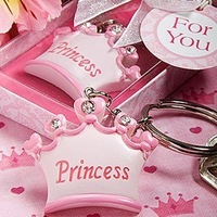 FREE SHIPPING +Pink Crown Themed Princess KeyChains Baby Favor+40pcs/Lot+Very Good For Baby Showers