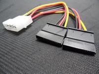Free shipping 20pcs/lot 4Pin IDE Molex to 2 Serial ATA SATA Y Splitter Hard Drive Power Adapter Cable drop shipping