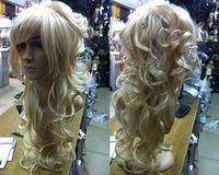 New Sexy long hair white curly lady human made wig/wigs
