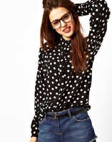 Free Shipping European Style 2014 New Fashion Blouses Wave Point Dot Women's Long-sleeved Shirt