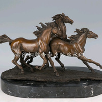 Carving Work of Art Copper sculpture animal quality gift crafts home decoration three horses dw-087