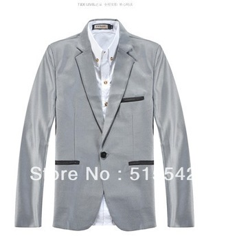 Free shipping 2013 new men spring korean thin big yards high quality leisure jackets for men fashion black men suit *11