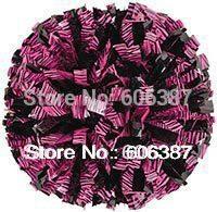 "cheerleading Pom poms 3/4""x 6""~custom color metallic zebra pink on black mixed with plasti black  mini order 10 pieces"