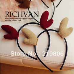 Free Shipping Original exclusive sweet cute little antlers elk ears hair bands Side folder hairpin Christmas deer bands(China (Mainland))