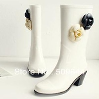 Free shipping fashion camellia rain boots, rain shoes. boots