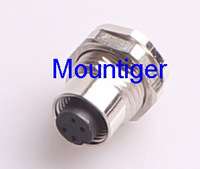 ES-FS4R /M12 female 4-pole connector solder contact Mountiger Euro-style Panel mounted receptacle soldered for proximity switch