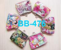 Free/drop shipping 2013 Hot sale PVC coin purse fashion cartonn pattern punrse for kid mixed color BB-476