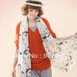 Graffiti shawls,Silk chiffon, Sexy women Marilyn Monroe picture scarf Free shipping Valentine's gift