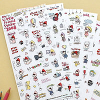 Korea stationery ponybrown transparent stickers 6sheets-friends