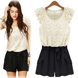New arrival 2013 women fashion one-piece dress pants romper summer ruffle lace chiffon short jumpsuits overalls SIZE S,M,L XL(China (Mainland))