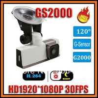 In Stock!Full HD 1920*1080P 30FPS GS2000 Car DVR Camera Recorder with G-sensor H.264 Wide Angle 120 Degree Car Black Box