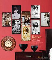 Audrey Hepburn vintage Tin painted wall decorations metal signs /metal painting