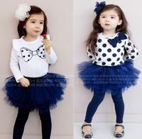 2 Models,Girls TuTu Dress, Fashionable &Beautiful Lovely 2pcs Suit(long sleeve shirt+skirt ),In Stock,FreeShipping