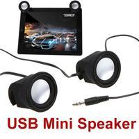 2 Pcs/Pair Portable Speaker Black USB Mini Speaker for Cellphone MP3 PC Tablet free shipping wholesale