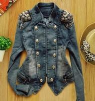 Women's Denim Coat Short Design Denim Outerwear Female Long-sleeve Short Jacket Epaulette 829 Fashion Denim Jacket for Female