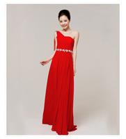 One shoulder bride and bridesmaids wedding dress red married cheongsam evening dress new arrival 2013 long design formal dress