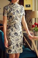 The new 2014 cotton Chinese cheongsam cheongsam retro summer fashion /Free shipping