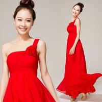 Red one shoulder formal  high waist long design dinner party evening dress