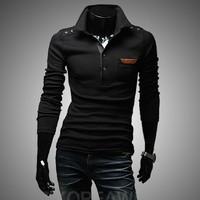 2014 New Fashion Tees, Men turn-down v-neck , Mens long T-shirts, Top Brand Men's T-shirts, Free ShippingM ~ XXL