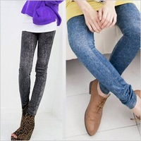 Thin elastic snow denim Leggings