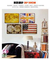 World Map and National Flag Tin Sign For Bar Decor
