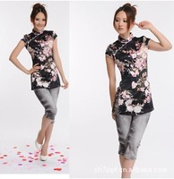 The new 2014 ms summer wear tang suit coat short sleeve blouse peach blossom silk cheongsam /Free shipping