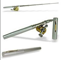 Free Shipping  Pen fishing rod + Golden reel+ Fishing Hook +Pratice Weight+Bobber