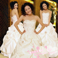 CHQY--The new Korean wedding dress 2012 Bra Korean Princess Puff wedding sweet wedding satin HS198