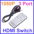 high quality HD Mini 3 Port 1080P Video HDMI Switch HDMI Switcher HDMI Splitter with IR Remote splitter box Free shipping(China (Mainland))
