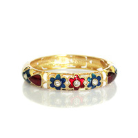 Enamel cloisonne flower diamond bracelet quality female b078