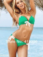 CL37063 Free Shipping Soft Fabirc Green with White Trim Sexy Women Swimwear High Quality Summer Bikini